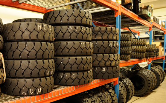 Forklift Tire Parts on Racking